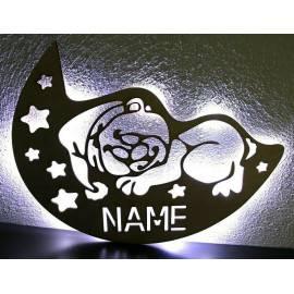 LED Deko Schlummerlicht Nachtlicht Teddy Bär liegend schlafen Mütze Sterne Halbmond Mond
