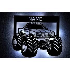 Monsterauto LED Deko Monster Truck, personalisiert mit Wunsch Namen Lasergravur Schlummerlicht