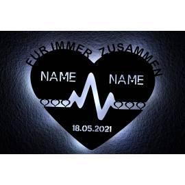 Für Immer Zusammen Herzeschlag mit Namen Liebessymbol , LED Schlummerlicht Nachtlicht personalisiert