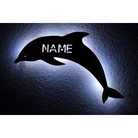 Delfin Schlummerlicht Nachtlicht Delfine Spielzeug Tier LED Deko ,personalisiert mit Wunsch Namen