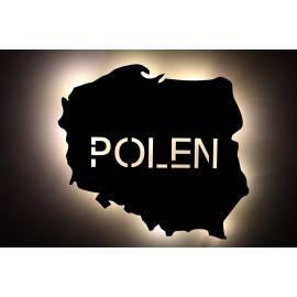 pɔlska Polen - Lasergravur LED personalisiert mit Wunschtext Schlummerlicht