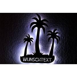 Schlummerlicht Led Drei Palmen personalisiert mit Wunschtext, Lasergravur