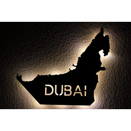 Dubai personalisiert mit Wunschtext دبي Lasergravur Led