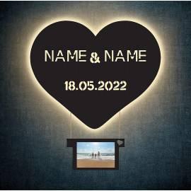 Led deko Herz Heißluftballon Schlummerlicht mit hängendem Bilderrahmen personalisiert mit Wunschnamen und Datum