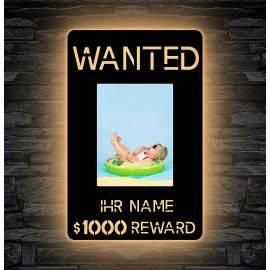 """Schlummerlicht Led deko """"Wanted"""" mit Bilderrahmen für dein Foto 20 x 15 cm Gesucht Nachtlicht Geschenk für ihr Kind"""