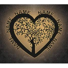 Herz Liebesbaum LED mit bis zu 6 Namen oder Datum Lasergravur Geschenke